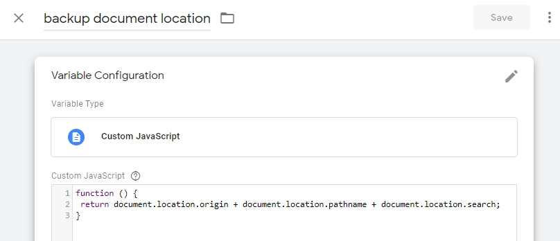 Google Tag Manager React Backup Document Location