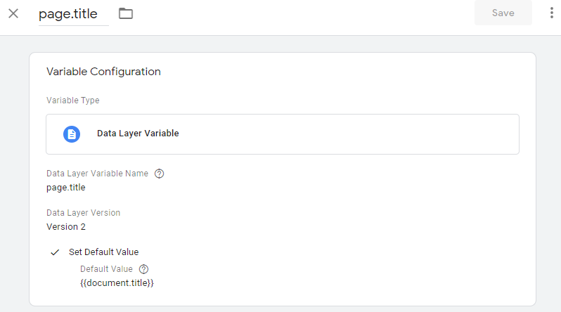 Google Tag Manager React Page Title Variable