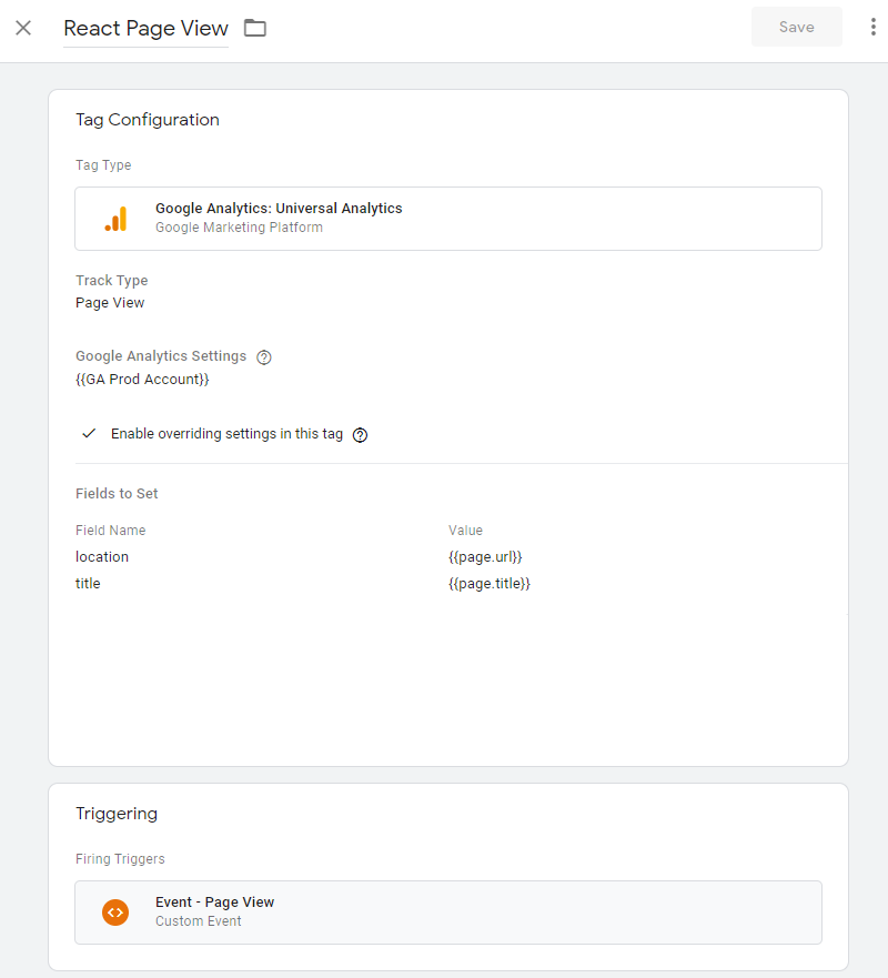 Google Tag Manager React Page View