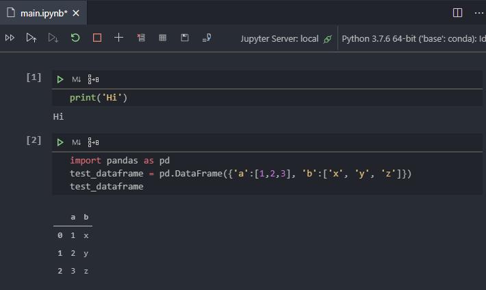 Anaconda Visual Studio Code Notebook Test Pandas Dataframe