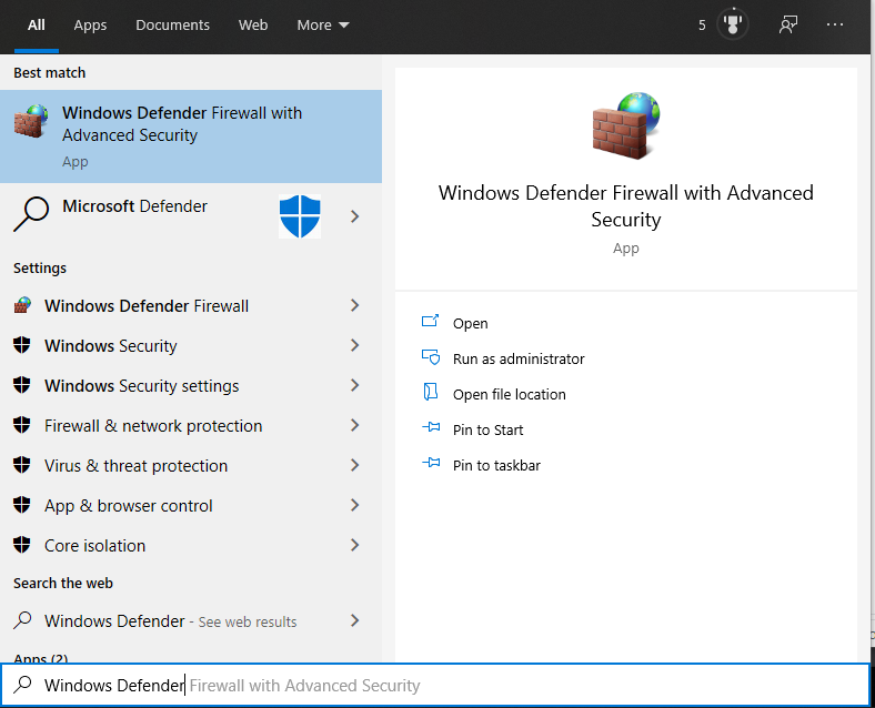 Windows Firewall Defender