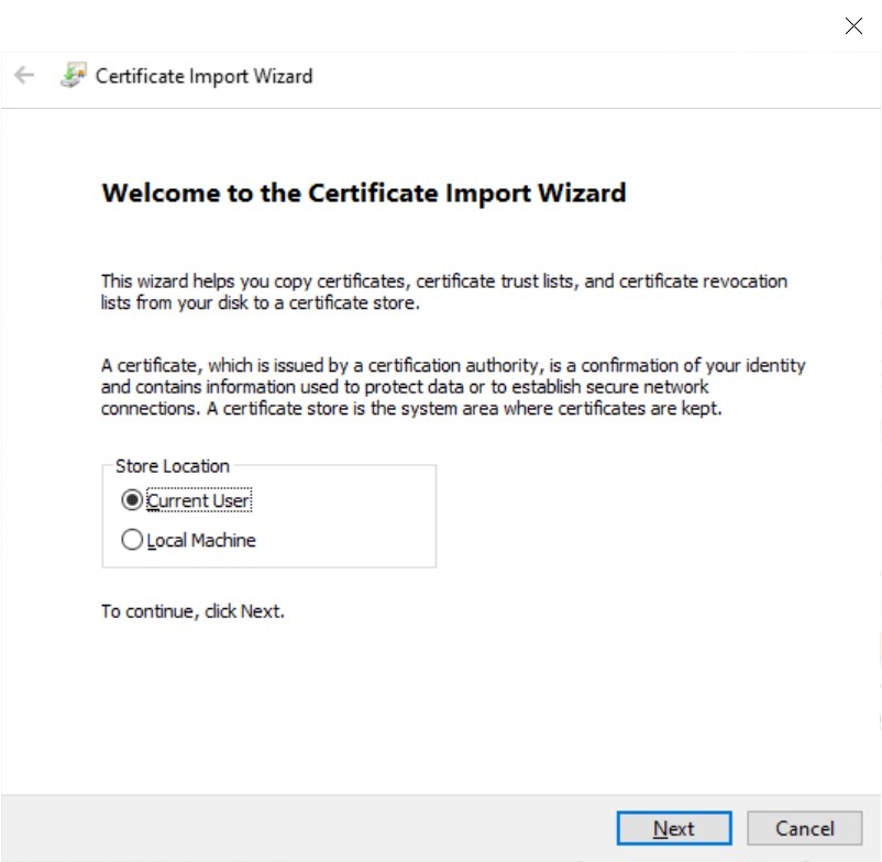 Charles Certificate Import Wizard