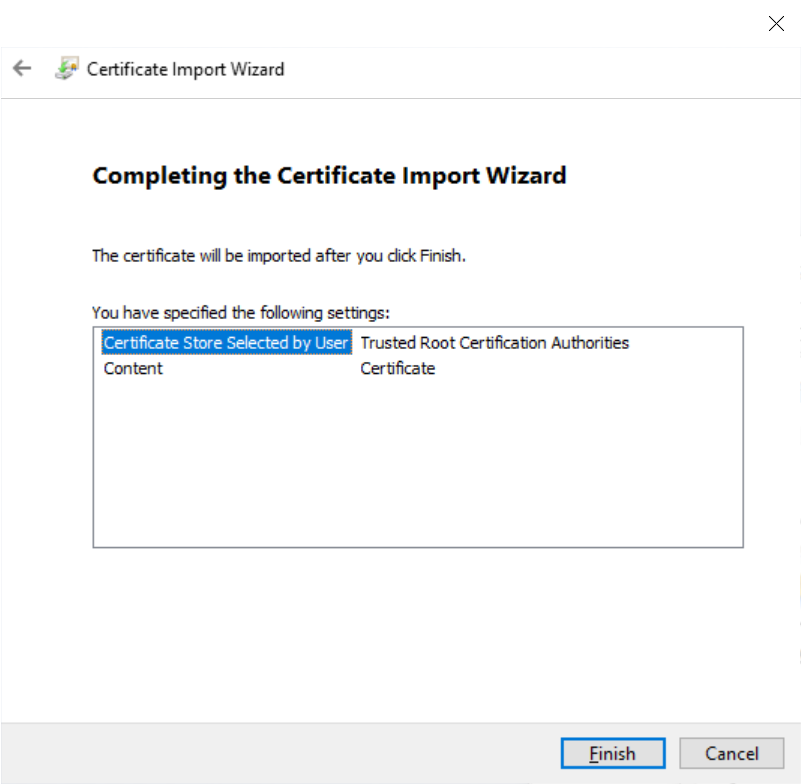 Charles Completing The Certificate Import Wizard