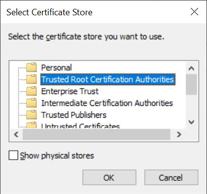 Charles Select Certificate Store