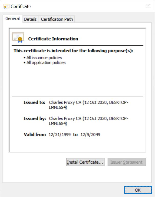Charles Windows Certificate